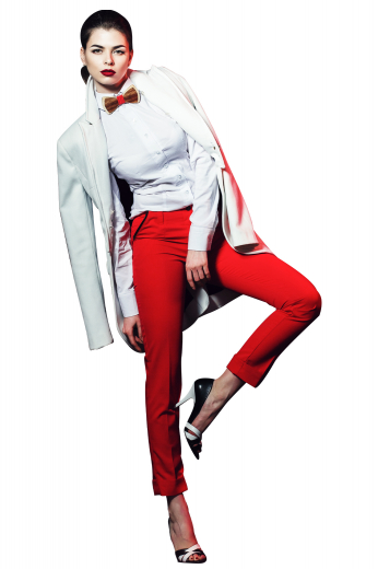 A sophisticated and beautiful pair of women's custom tailored red slim fit pants. This women's pant is tailor made in a wool blend. It features front pockets in a slim fit, perfect for all occasions.