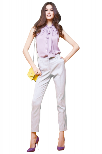 This sleeveless blouse features a pussy bow collar and matching buttons, made to measure to a sleek fit.
