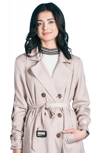 In a classic double-breasted style, this winter coat is perfect for days you want to feel fashionably cozy. Featuring a modern belt tie along with a button close, the knee-length coat will keep you warm throughout the season.