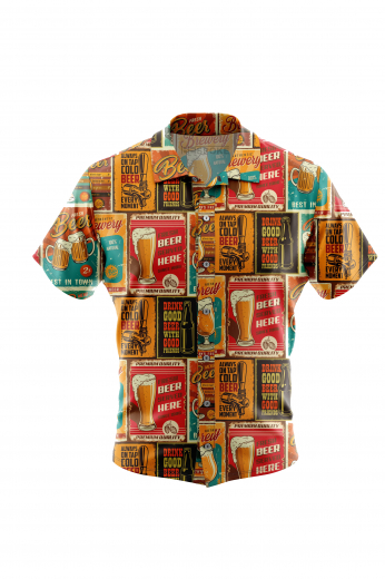 Men's wrinkle-free funny cheers beer print short sleeved summer shirt in a poplin finish. The design has a custom print in a cheeky look and the fabric is super soft poplin finish for wrinkle-free and easy care for and be worn with Jeans or Cotton chinos for a casual occasion.