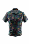 A stylish men's custom tailored short sleeve dress shirt intricately designed with festive toucan birds and decorative plants. This men's made to measure dress shirt is great for a casual day out and also on vacation. This handstitched dress shirt will make a great addition to your collection.