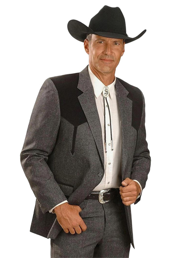 A chic cowboy inspired men's professionally tailored single breasted western style suit in a classic grey with contrasting black shoulder patches. This fine suit is made up of a made to measure pair of comfortable well ventilated bespoke suit pants matched with a hand tailored single breasted suit jacket designed with a modern elegant design for the elegant cowboy.