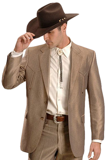 A classic cowboy inspired men's professionally tailored single breasted western style suit in a classic golden-bronze. This fine suit is made up of a made to measure pair of comfortable well ventilated bespoke suit pants matched with a hand tailored single breasted suit jacket designed with a modern elegant design for the sophisticated stylish western cowboy.