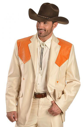 A classic chic cowboy inspired men's professionally tailored single breasted  western style suit in a classic cream with contrasting orange shoulder patches. This fine suit is made up of a made to measure pair of comfortable well ventilated bespoke suit pants matched with a hand tailored single breasted suit jacket designed with a modern elegant design for the sophisticated cowboy.