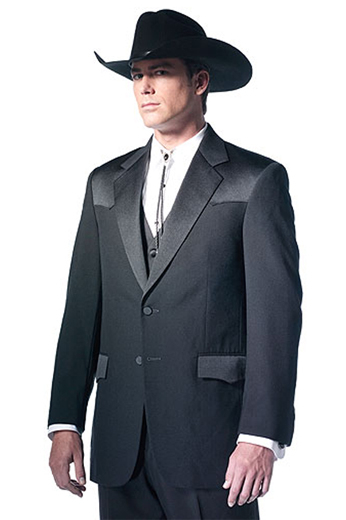 An exceptional men's professionally tailored single breasted  western style suit in a classic black made up of a made to measure pair of comfortable well ventilated bespoke suit pants matched with a hand tailored single breasted suit jacket designed with a modern elegant design for the sophisticated cowboy.