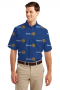 French Blue Rotary logo Print Short Sleeve Shirt featuring button-down