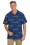 French Blue Rotary Shirt featuring Short Sleeves, Hawaiian Collar, Tucked out casual wear shirt