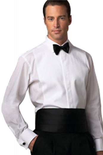 Strappingly tailored non pleated full front breast plate tuxedo shirt with ainsley collar with French cuffs