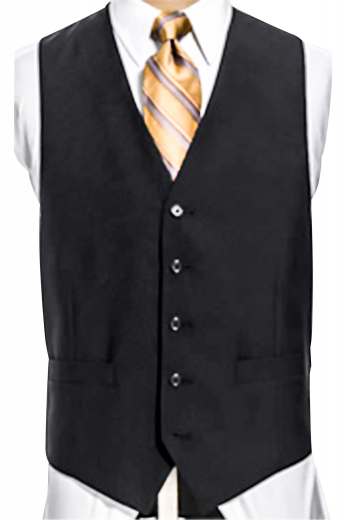 A men's elegantly single breasted sharply angled five button two pocket vest made beautifully out of virgin cashmere.
