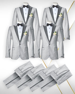 A set of Four Tuxedos and 2 Bowties - for the Wedding party from our Exclusive Collections