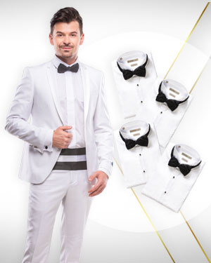 4 Dinner suits, 4 Tuxedo shirts and 1 Bowtie from our Exclusive Collections