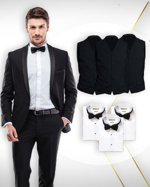 3 Tuxedos, 3 vests, 3 tuxedo shirts and 3 Bowties - from our Deluxe Collections