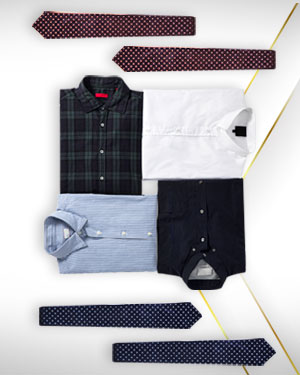 Four shirts and 3 Neckties from our Deluxe Collections