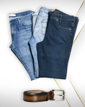 The Jeans Trio - 3 Custom Made Jeans and 1 Belt from our Classic Collections