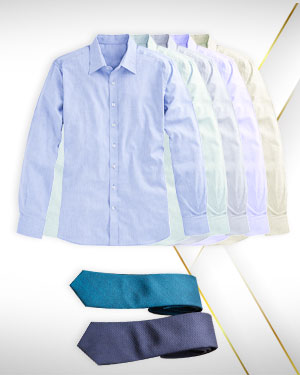 Non Iron Cotton Shirts - Five Cotton shirts and 2 Neckties from our Premium Category