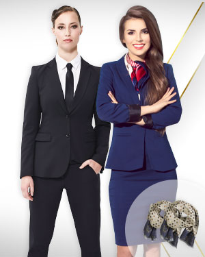 Womens Business Wear - 1 Pants Suit, 1 Skirt Suit and 2 Silk Scarfs for the career Woman from our Deluxe Collections