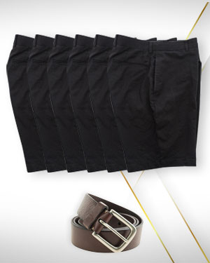 Mens Shorts Summer Sales - 6 Custom Made Shorts and 1 Belt  From Classic Collections