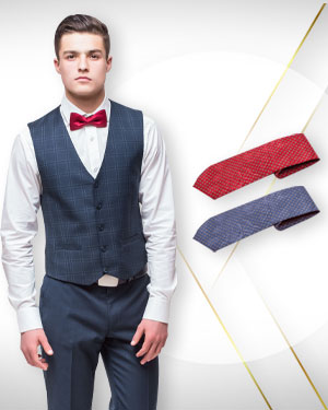 Two evening vests and 2 Neckties for the evening occasion From Classic Collections