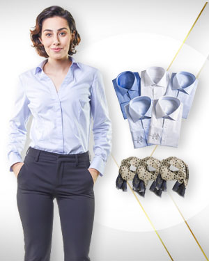 Six Business shirts for Women plus 3 silk scarves From Classic Collections