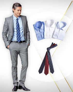 2 Single Breasted Suits, 3 Shirts and 3 Neckties from our Classic Collections