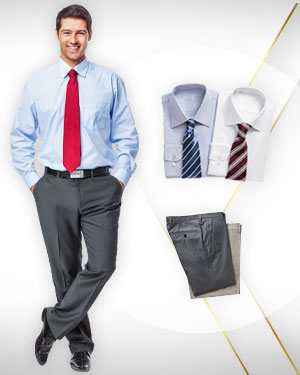3 Business Shirts, 3 Pants and 3 Neckties from our  Classic Collections