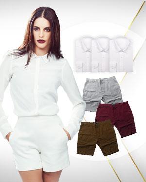 WFH 3 Custom made Dress Shorts & 3 Custom Dress Shirts (Women)
