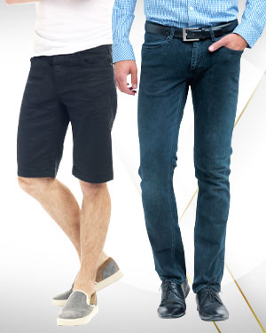 3 Jeans 3 Casual cotton Shorts for Work from Home Men