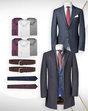 Realtors Package - 1 Overcoat, 3 Single Breasted Suits, 6 Cotton Shirts, 1 Belt and 2 Neckties from our Classic Collections