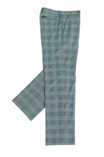 A snug fit made to measure pair of plaid golf pants with a flat front, slash front pockets, back pockets with zippers, and hand sewed cuff hems.