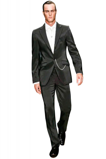 Style no.12145 - Check out this made to measure suit featuring tailor-made slim cut high waisted suit pants with reverse pleats and hand-sewn cuff hems. It is elegantly complimented by a sophisticated single breasted one-button suit jacket with skillfully track stitched darts and embroidered sleeves.