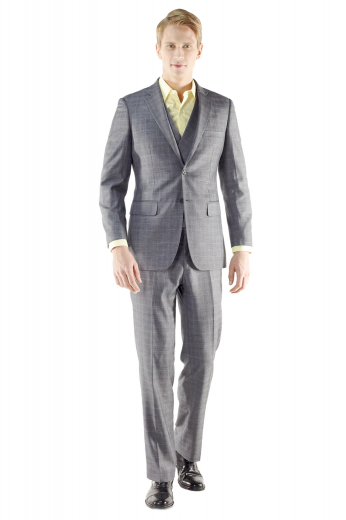 This smart two button true custom fit makes an excellent option for just about any easygoing occasion. Crafted with modern style, this suit features a notched lapel, flap pockets and a natural shoulder for a comfortable fit with plain front pants and double breasted shawl collar waistcoat.