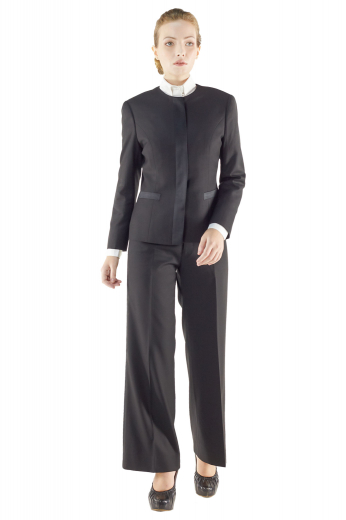 Style no.14898 - Stunning tailor made black pant suits incorporating short length jackets with rounded collars and satin welt lower pockets, and snug fit custom pants with enchanting hand sewn cuffs and hems and a buttoned waistband with front fly zipper for closure. These sensational pant suits can be handmade with crease free wool and or cashmere.