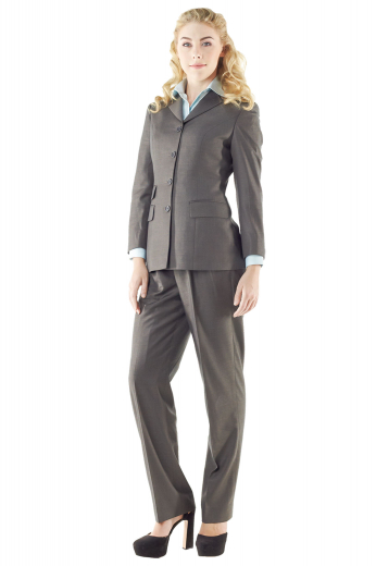 Style no.14928 - With stylish slim cut jackets creating line silhouettes and snug fit custom pants, these light gray pant suits are perfect graduation and office wears. Jackets highlight double piped ticket pocket on the right, two flapped lower pockets, four front buttons and high notch lapels. Custom pants with flat fronts and soft elastic waistband are very comfortable. These pant suits can be order made in wool and or cashmere.