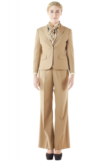 Stunning slim jackets and flare legs pants make these formal tan pant suits a fashion treat for stylish women. Jackets feature slim ruled notch lapel collars, flapped lower pockets, four striking buttons on the cuffs sleeves and one front button. Custom bootcut pants with slash front pockets can be closed with a zipper fly accompanied by hook closure buttons on the waistband. You can order these handmade pant suits in wool and or cashmere.
