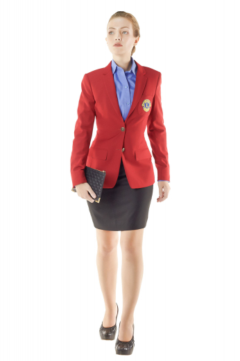 Style no.15123 - These hip-length bespoke red blazers look ravishing with custom pencil skirts and slim cut denim pants. They sport two contrast front close buttons, four buttons on cuffs sleeves, two flapped lower pockets and a finely tailored round cut patch pocket on front left.