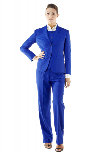 Step out gorgeously in this ravishing custom made royal blue pant suits incorporating slim cut vests with round neck and handmade six front closure buttons, flare legs custom pants flashing tailored slash pockets and zipper fly with buttons on the waistband for closure, and elegant jackets with two front buttons, slanted flapped lower pockets and made to measure hand molded shoulders.