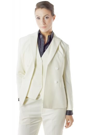 Elegant custom made white pant suits flashing V neck vests, snug fit suit pants and hip length jackets. Double breasted jackets display four front buttons, two to close, slim ruled peak lapels and flapped lower pockets. White custom pants feature front slash pockets, wide waistband with buttons and front zipper fly. Custom vests boast angled V cut bottoms, welted lower pockets and three front buttons to close.