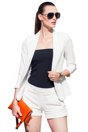 This beautiful womens custom made white jacket in cashmere wool is a super stunning formal from the exclusive range of handmade garments at My Custom Tailor. This womens handmade white jacket has an open front, 2 3 inch wide notch lapels, and 2 lower pockets with flaps. You can wear this trendy womens made to order white wool jacket with womens handmade slim fit dress pants for a corporate touch and womens bespoke slim fit summer shorts for a trendy casual look.