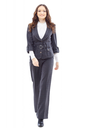 Style no.15874 - This classy womens tailor made dark grey wool blazer features a breathtaking single breasted style, augmented with the same fabric belt for a perfect fitting. This womens handmade slim fit dark grey jacket has 2 3 inch wide notch lapels and classic hand moulded shoulders. This womens custom made ultra slim fit grey jacket also has 2 stunning rounded lower patch pockets. You can buy this womens bespoke wool blazer at My Custom Tailor at affordable rates.