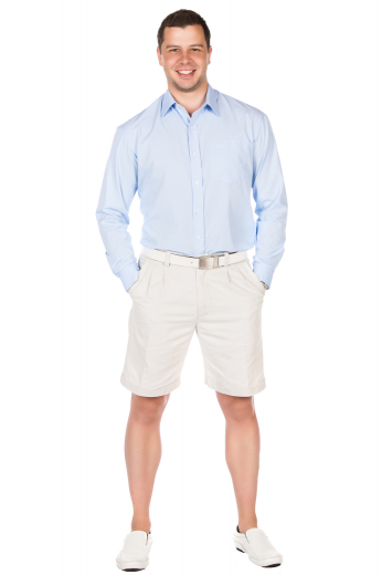 These mens handmade white golf shorts in cotton are super comfortable and elegantly designed to display 2 front slash pockets and 2 back pockets. With iconic reverse double pleats on the front and extended belt loops, these mens tailor made slim fit shorts also feature 1.5 inch turned up cuffs at the bottom. These mens made to order cotton shorts also feature a 2 point button and hook closure and a zipper fly. You can buy stunning mens bespoke white golf shorts at My Custom Tailor at affordable rates.