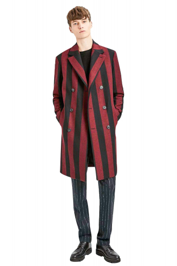This mens handmade cashmere wool overcoat displays a stunning long stripes pattern in black and red. This mens tailor made slim fit topcoat has a stunning double breasted pattern with 6 front buttons, 3 to close. With 2 neatly rolled 3-inch-wide notch lapels and 2 slanted lower pockets on the front, this mens made to order double breasted overcoat ends just above the knees. Buy this handsome mens handmade topcoat at My Custom Tailor to stay warm and cozy without giving up on style this season.