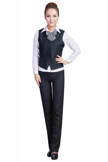 This trendy womens handmade dark blue pant suit in cotton features a slim fit bespoke vest and flat front handmade suit pants with full flare legs. The womens custom dress pants also feature standard belt loops with a two point button and hook closure with a zipper fly for comfort. The womens bespoke single breasted vest has a high gorge rounded neck pattern, a 4 button front closure, and 2 welted lower pockets. With the inclusion of a standard cloth back, the womens handmade vest will keep you comfortable all day long.