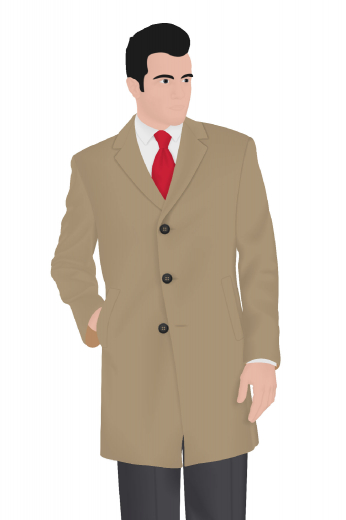 Look stylish in this hand tailored men's made to measure slim cut overcoat. Perfect for winter, this custom made overcoat with its sophisticated men's single breasted design featuring an above the knee length, a three button front style, with slanted welted pockets and so much style will certainly be the talk of the office.
