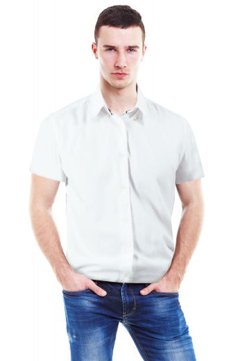 This super stylish mens bespoke white shirt is fabricated with wool blend by skilful fabric magicians at My Custom Tailor. Bestowed with a hand sewn button down collar with 2 1/2 inch collar points, this trendy mens handmade short sleeves shirt can be worn to work daily. This mens tailor made shirt with a plain back and a placket front is also a stylish formal that you can wear to interview and meetings. Buy online to make it one of the priced collections of your bespoke formal garments that can be worn daily.