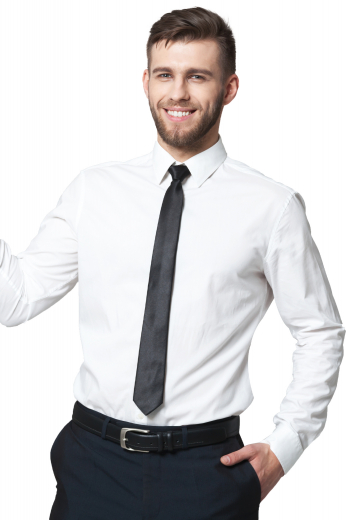 This men's button down is tailor made in a fine wool blend and cut to a slim fit, featuring rounded barrel cuffs and an ainsley collar, perfect for office wear.