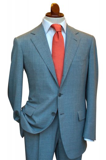 This sleek men's pant suit is tailor made in a fine wool blend and cut in a slim fit, featuring notch lapels, single breasted button closures, and slash pockets.