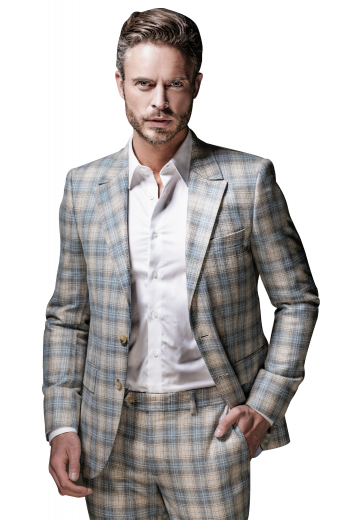 Style no.16819 - Single breasted business suit featuring slim fitting, two button, peal lapel with center paired with flat front pants, extended waistband, slash pocket and one pocket at the back.