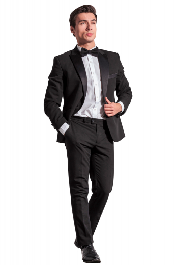 This sleek men's pant suit is tailor made in a fine wool blend featuring a single breasted button closure, satin peak lapels, and slash pockets.
