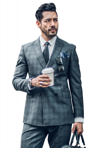 This plaid men's pant suit is a perfect fashion forward option for any formal occasion. It features double breasted button closures and peak lapels.