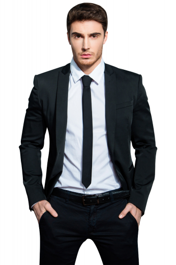 This men's pant suit is tailor made in a fine wool blend and to a slim fit, featuring a single breasted button closure, peak lapels, and slash pockets.